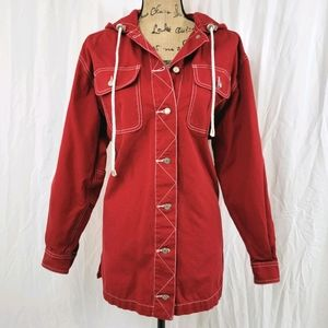MARSH LANDING BLUES Hooded Canvas Jacket Red Small